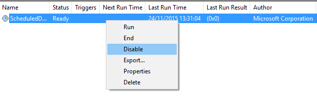 Disable Scheduled Defrag Task