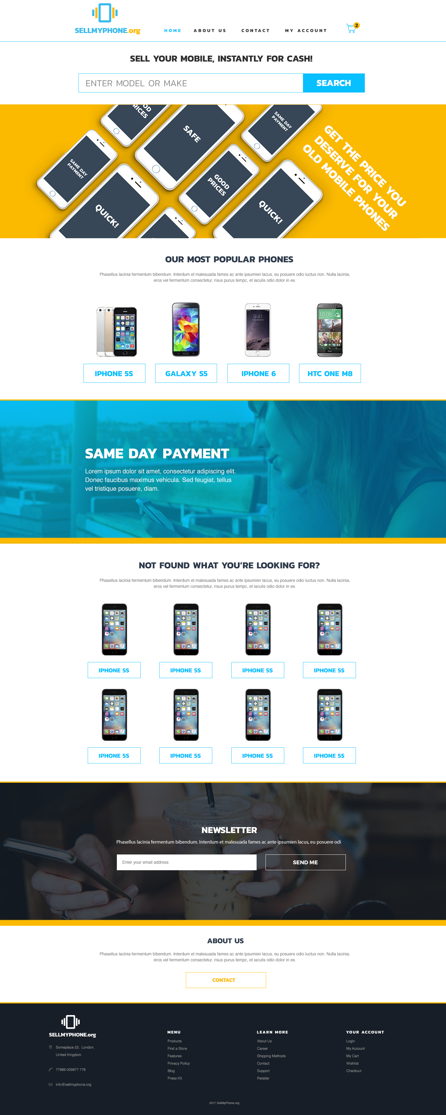 Sell My Phone Site Design Idea